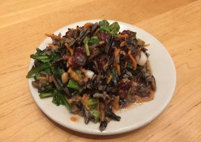 Wild Rice Salad with cranberries and arugala